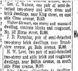 142 Morse St. Toronto Star, Oct. 19, 1904