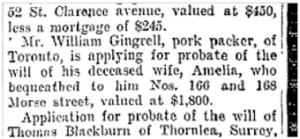 66 AND 168 Morse St will Toronto Star Aug. 22, 1904