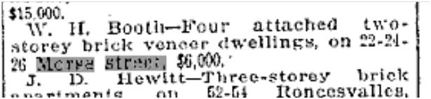 22 Morse Street, Toronto Star, Nov. 6, 1911
