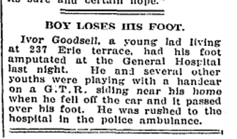 237 CR 19120326GL Boy loses foot