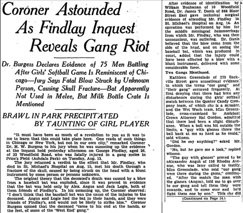 385 CR 19290821GL Gangs fight girls baseball game1