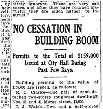 39 Morse Street, Toronto Star, Aug. 12, 1905