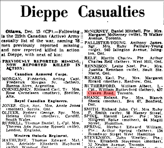 437 CR 19421216GM Dieppe Casualties
