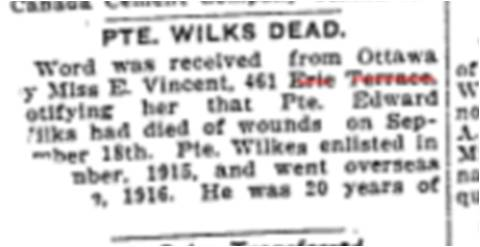 461 CR 19171016TS Pvt Wilks Dead 461 Erie terrace