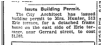 617 CR 19181216TS Mrs Hunter Building Permit