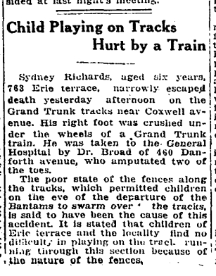 763 CR 19170427GL Child hurt on tracks
