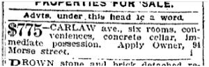 94 Morse Street Toronto Star April 15, 1901