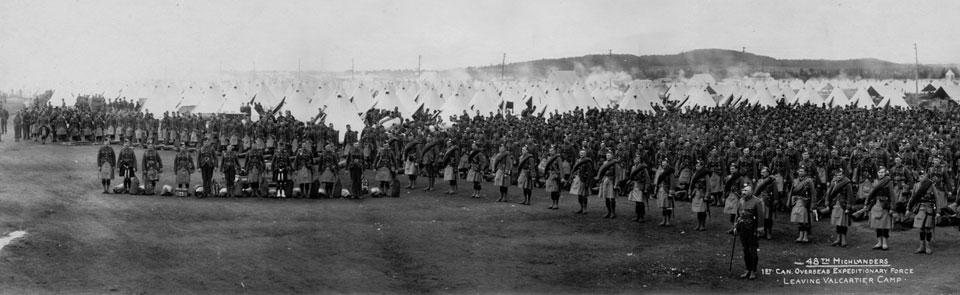 48th Highlanders leaving Valcartier