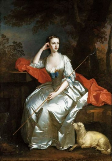 Allan Ramsay Portrait of Lady Jane Douglas, full-length, as a shepherdess seated in a landscape