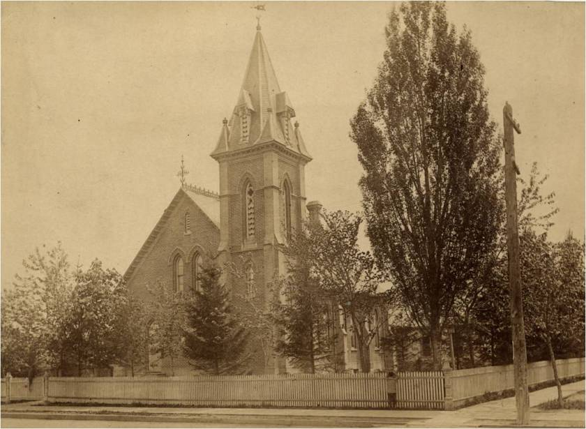 Queen St E Presbyterian Church and Leslie trees