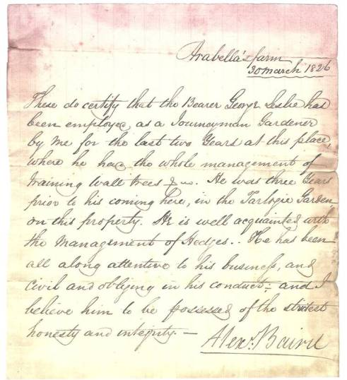 Reference Letter for George Leslie 1826