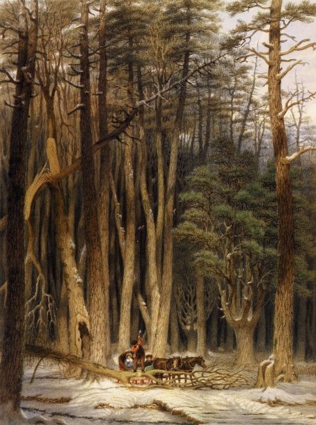 Winter - Impeded Travelers In A Pine Forest, Upper Canada, by George Harvey