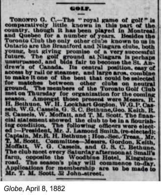 Globe, April 8, 1882 Small's Farm and TGC