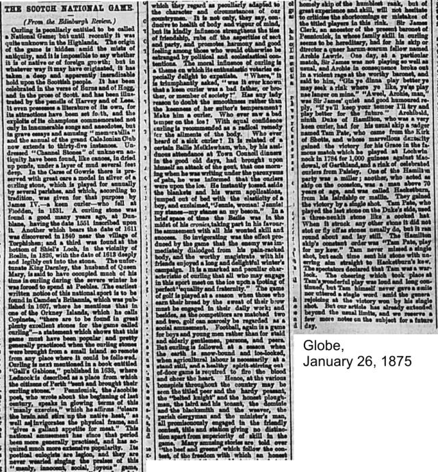 Globe, January 26, 1875 Third article on golf