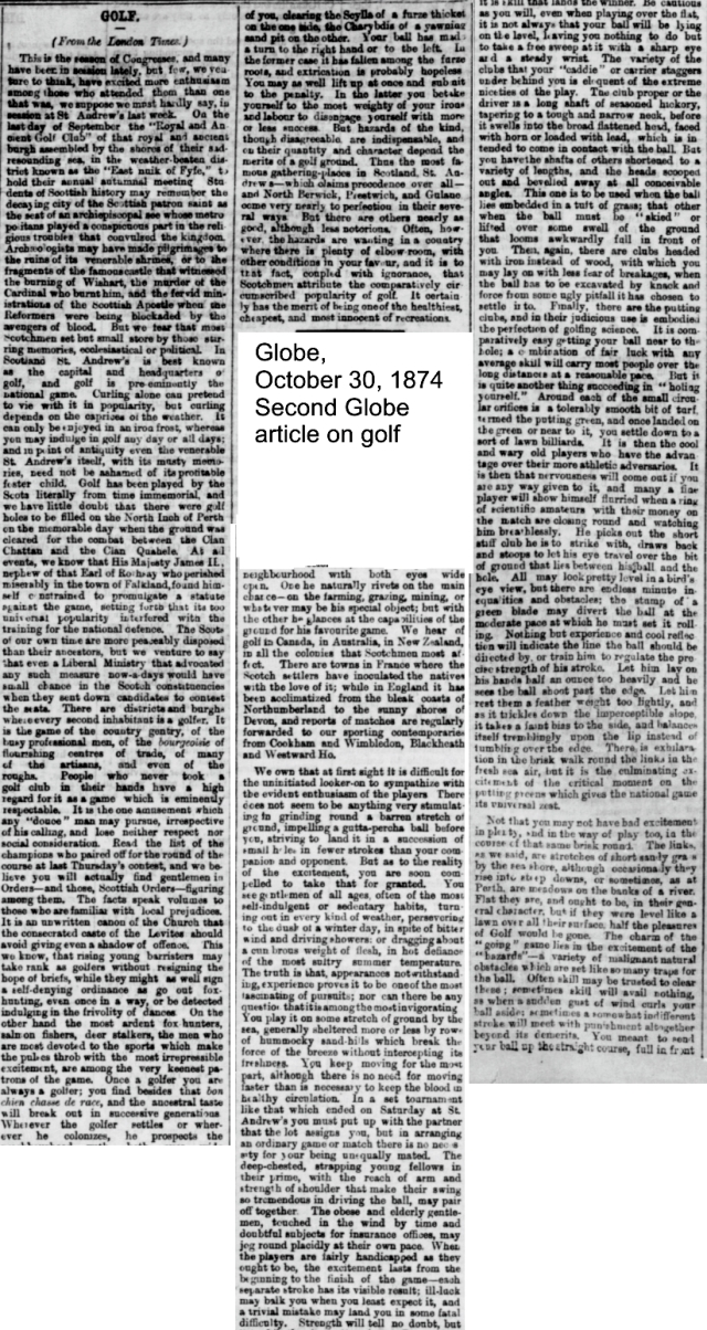 Globe, October 30, 1874 Second Globe article on golf