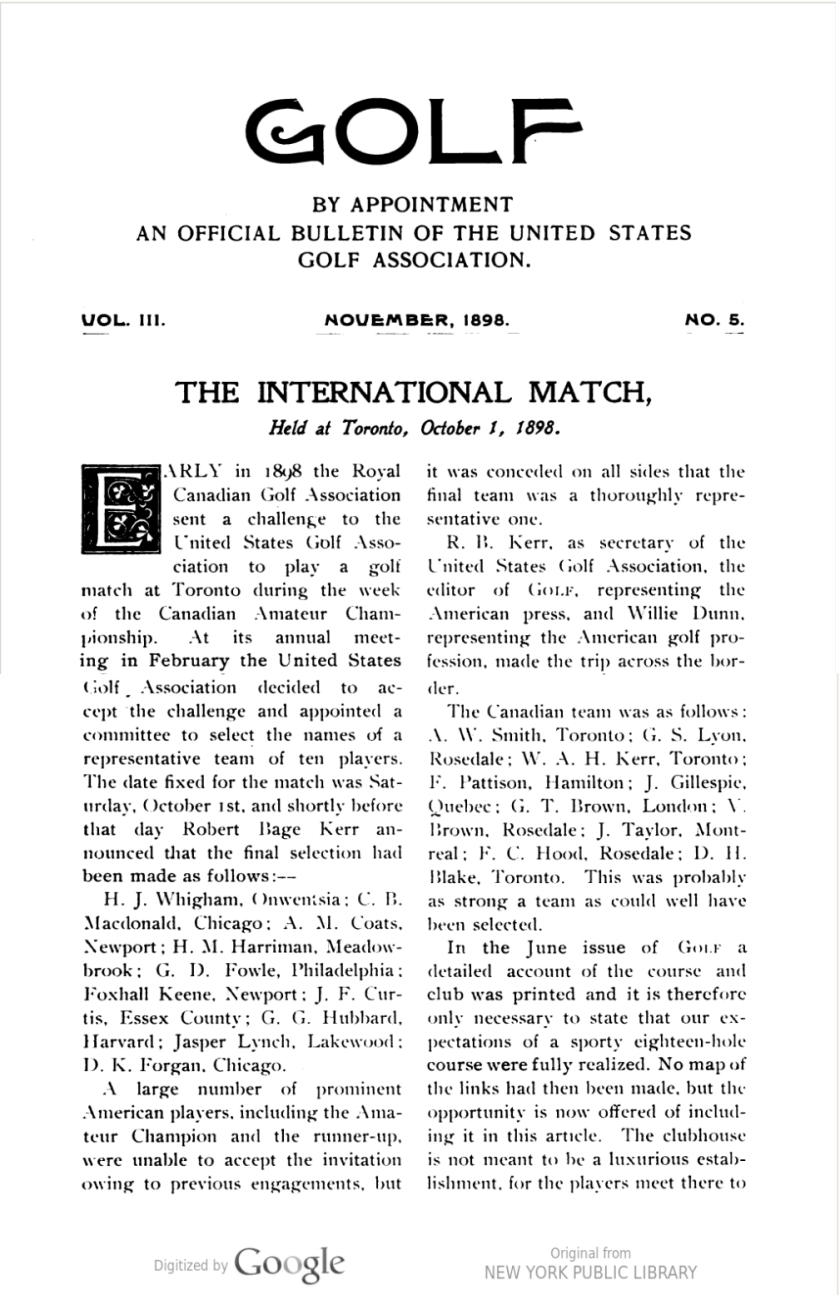 Golf, Vol. III, No. 1, July, 1898 p 263