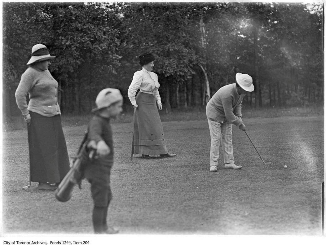 Golfers and Caddie, 1907, by William James, Toronto Golf Club