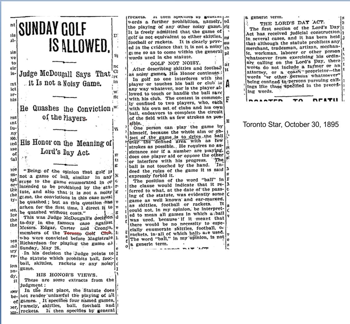 Toronto Star, October 30, 1895