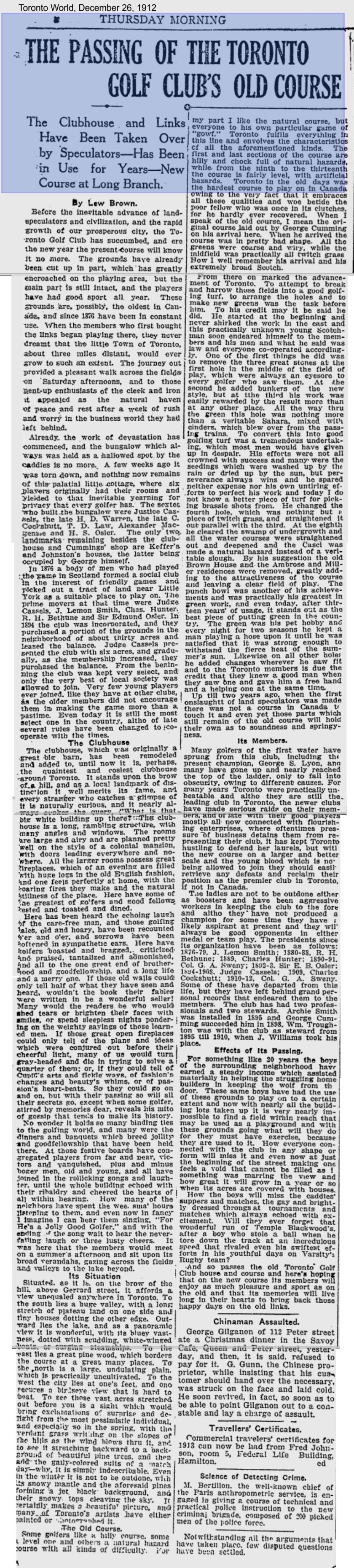 Toronto World, December 26, 1912