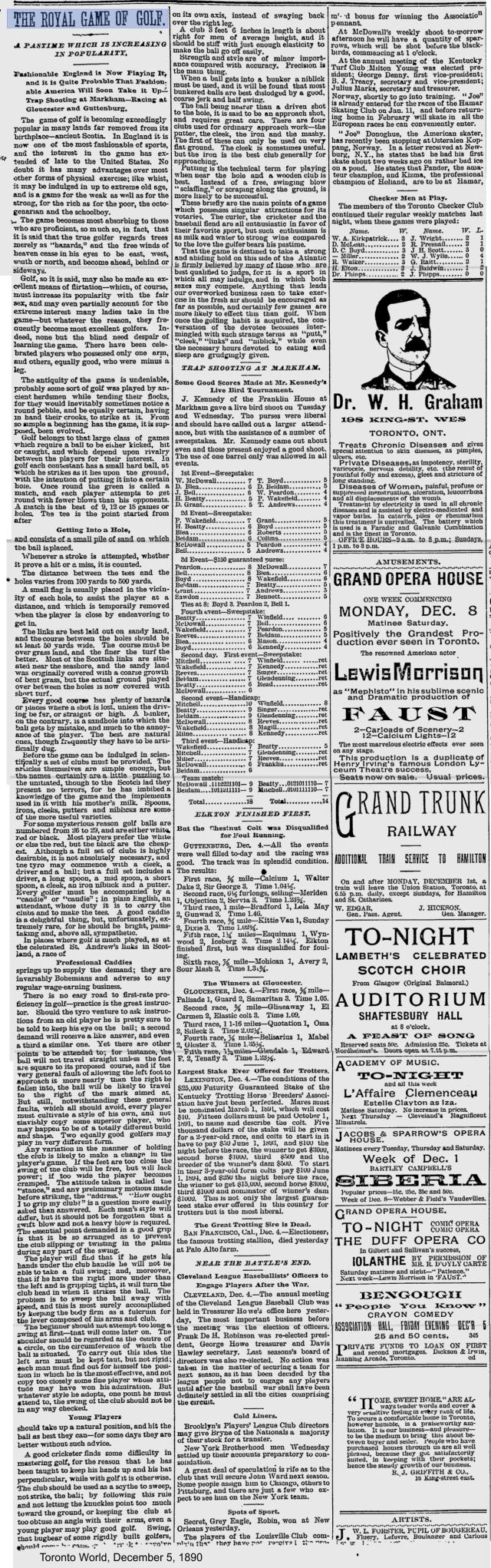 Toronto World, December 5, 1890