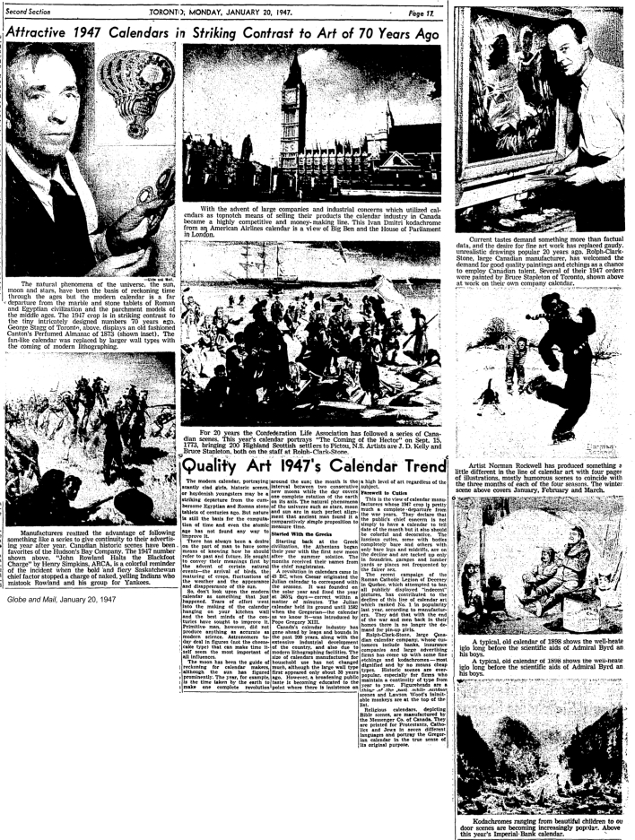 globe-and-mail-january-20-1947-calendars