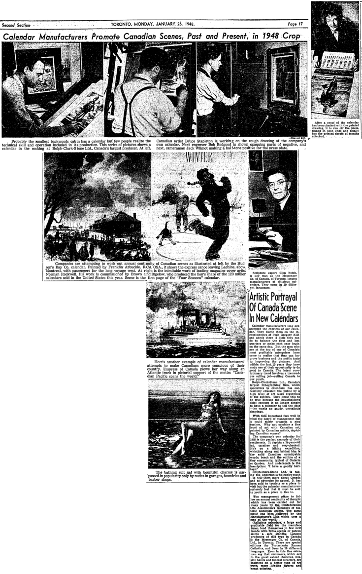 globe-and-mail-january-22-1948-calendar