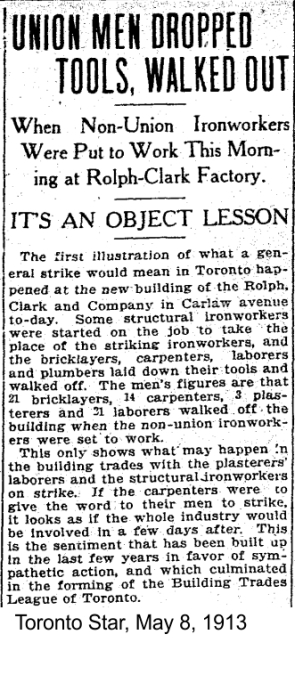 toronto-star-may-8-1913-strike-action-during-construction