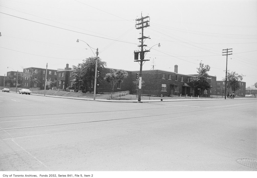 Corner of Gerrard St. and River St., looking south-west