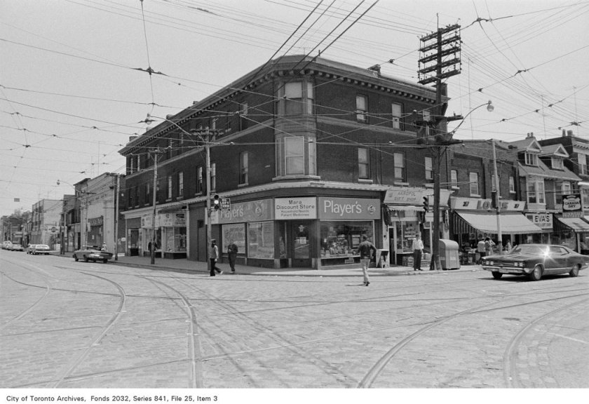 Corner of Broadview Ave. and Gerrard St., looking south-east