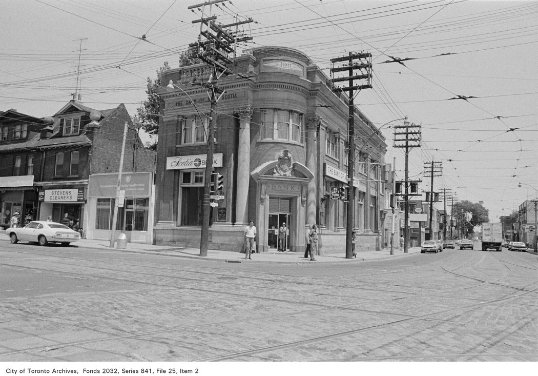 Corner of Broadview Ave. and Gerrard St., looking north-east