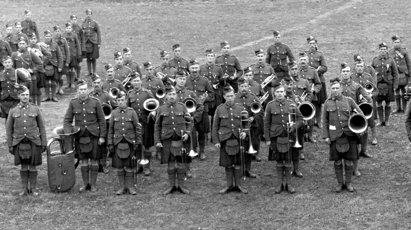 Brass Band, 92nd Battalion (48th Highlanders), C.E.F., Riverdale Camp, 1915