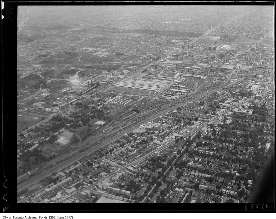 Aerial shots, West Toronto, Canadian Pacific Railways yards. - August 30, 1929