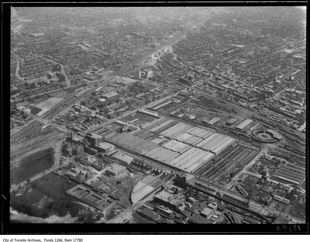 Aerial shots, West Toronto, Union Stock Yards. - August 30, 1929
