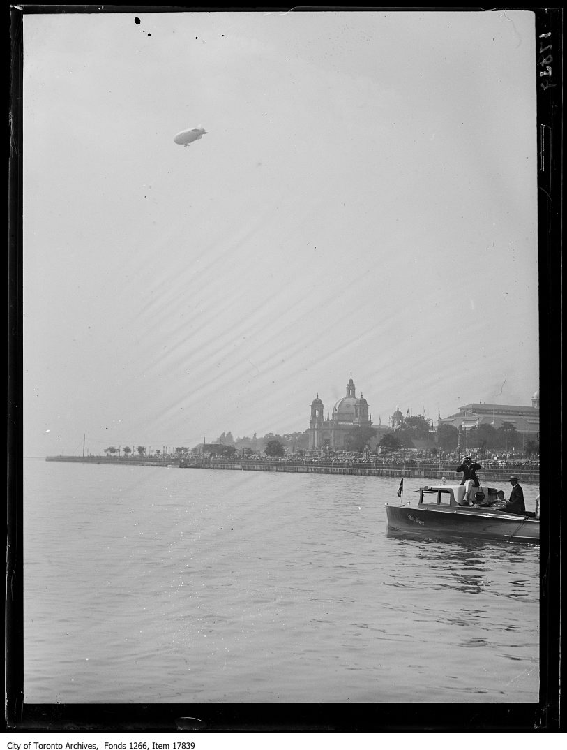 CNE, Goodyear blimp over lakefront. - September 4, 1929