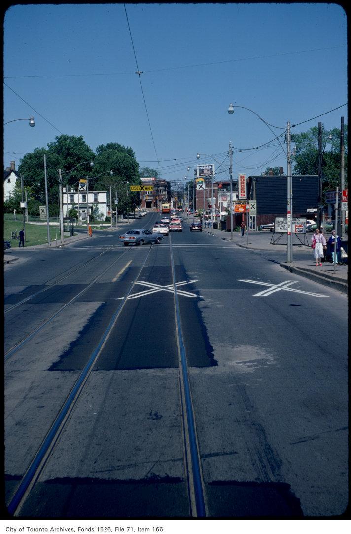 View of Gerrard Street East from Don Bridge, looking east