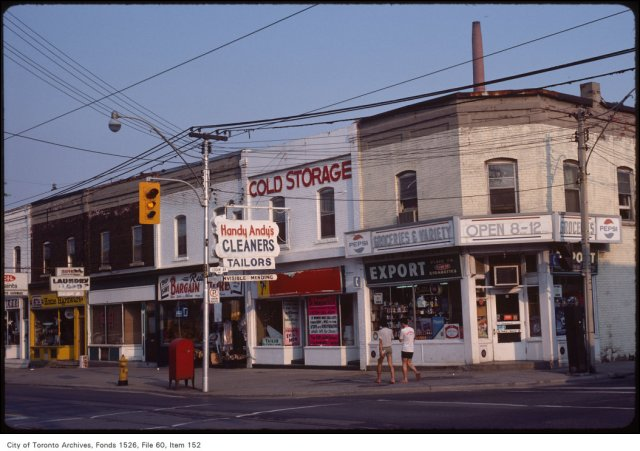Gerrard St E., at Logan, southeast corner