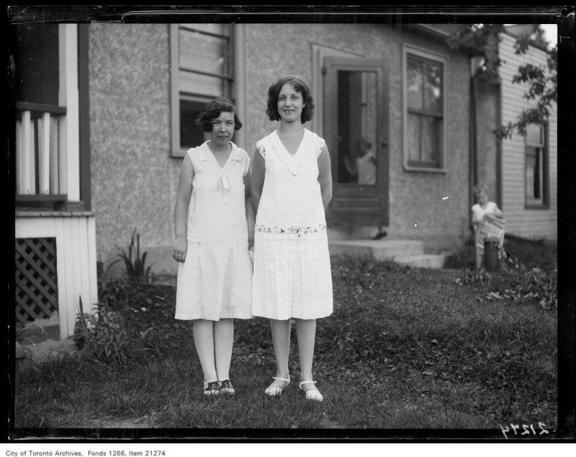 Josephine McGuire, 346 Rhodes Avenue, Elsie Rayner, 342 Rhodes Avenue, full figure.