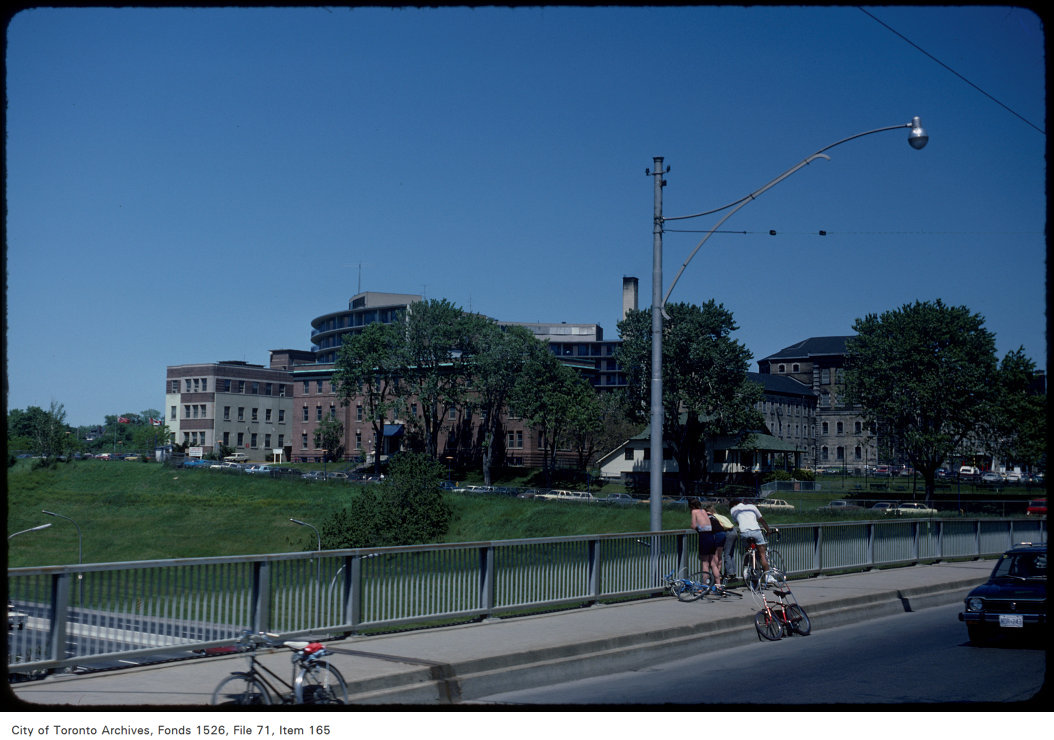 View of Don Bridge on Gerrard Street East, Don jail in background