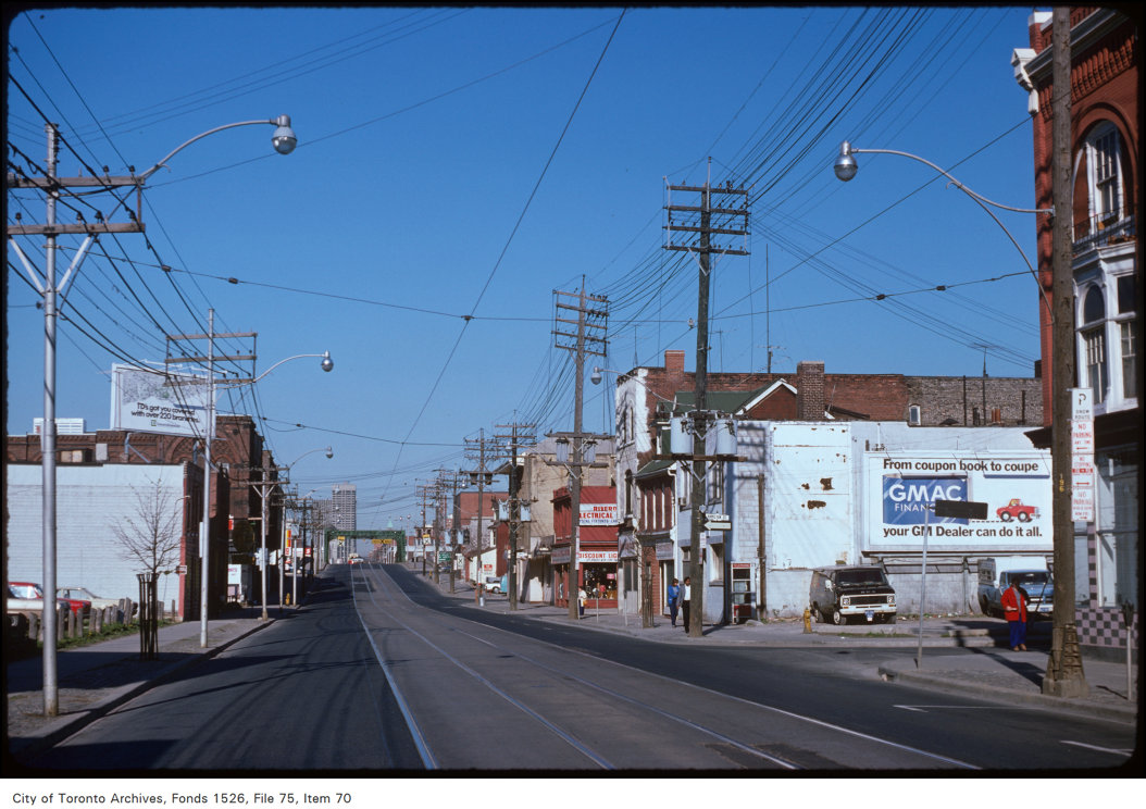 View of Queen Street East, looking east to Don bridge
