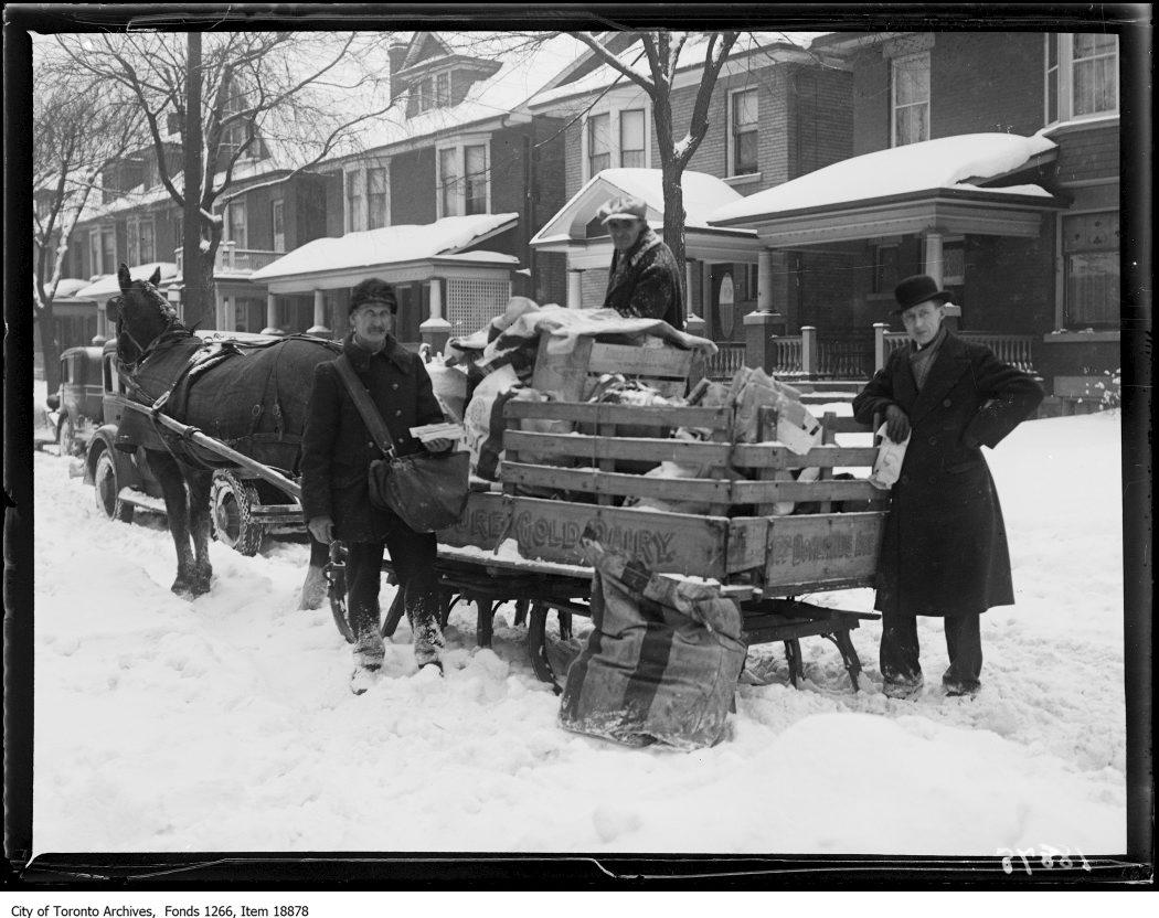 Postman with sleigh. - December 25, 1929