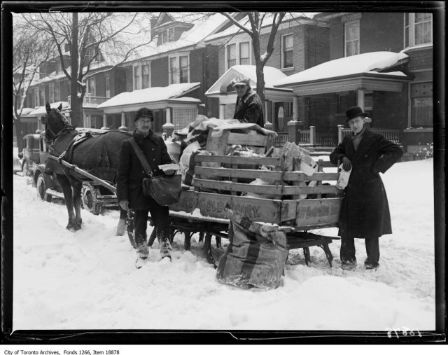 Postman with sleigh. - December 25, 1929
