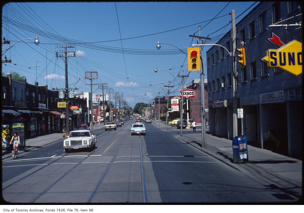 View of Queen Street East at Jones Avenue
