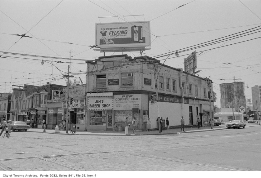 Corner of Broadview Ave. and Gerrard St., looking south-west