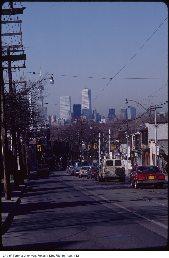 Toronto skyline, along Gerrard east of Woodbine, looking west