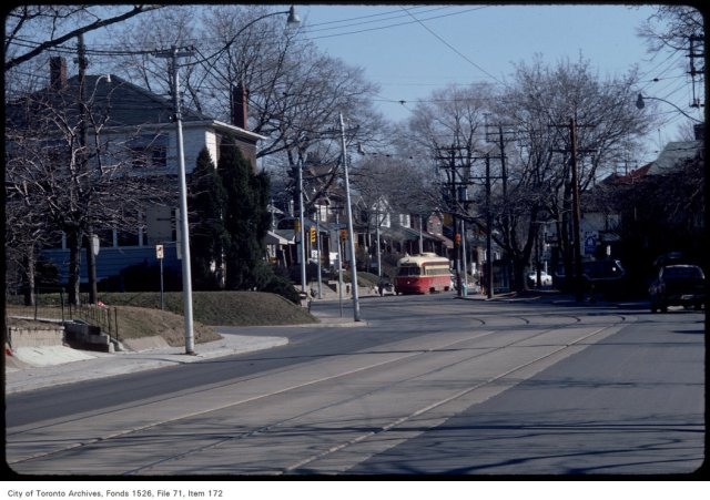 View of Gerrard Street East, looking east across Hollywood Crescent