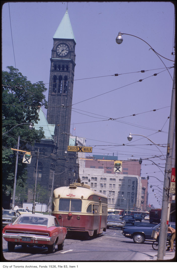 View of original Eaton's store and Old City Hall at Yonge and Queen Street