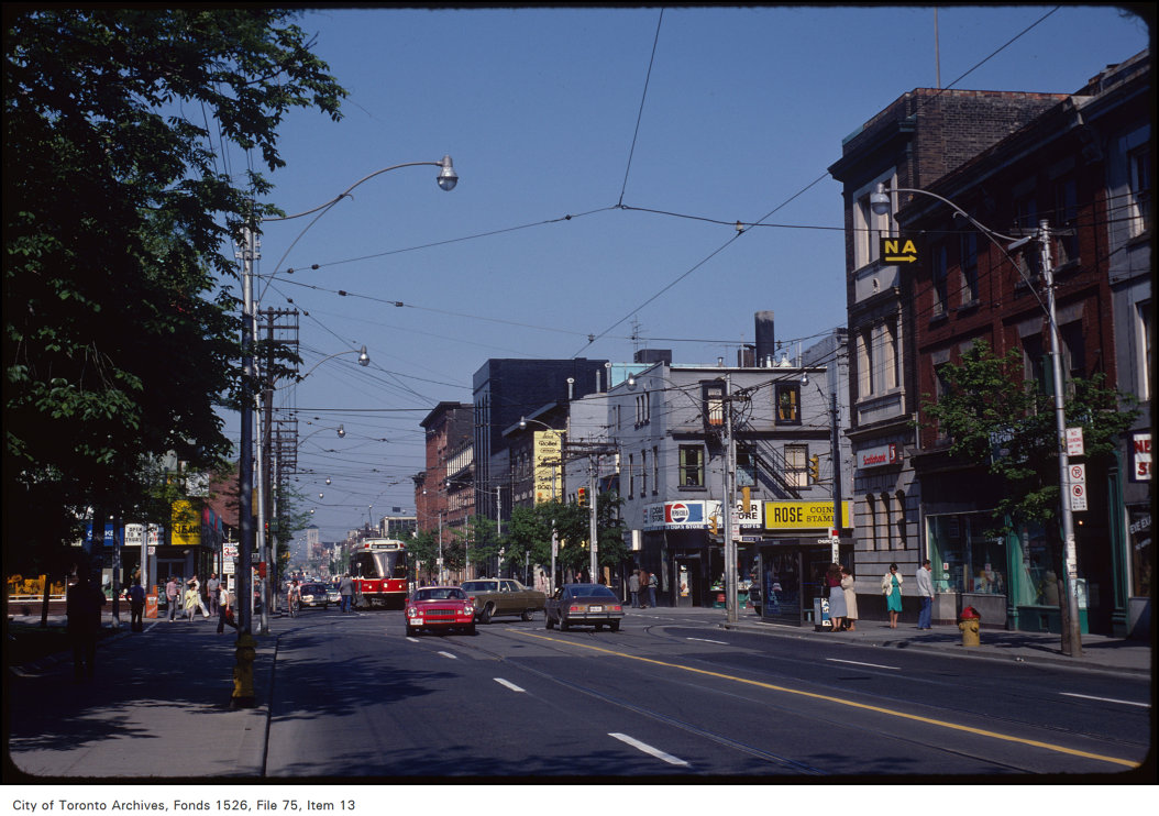 View of Queen Street East at Church Street, looking east
