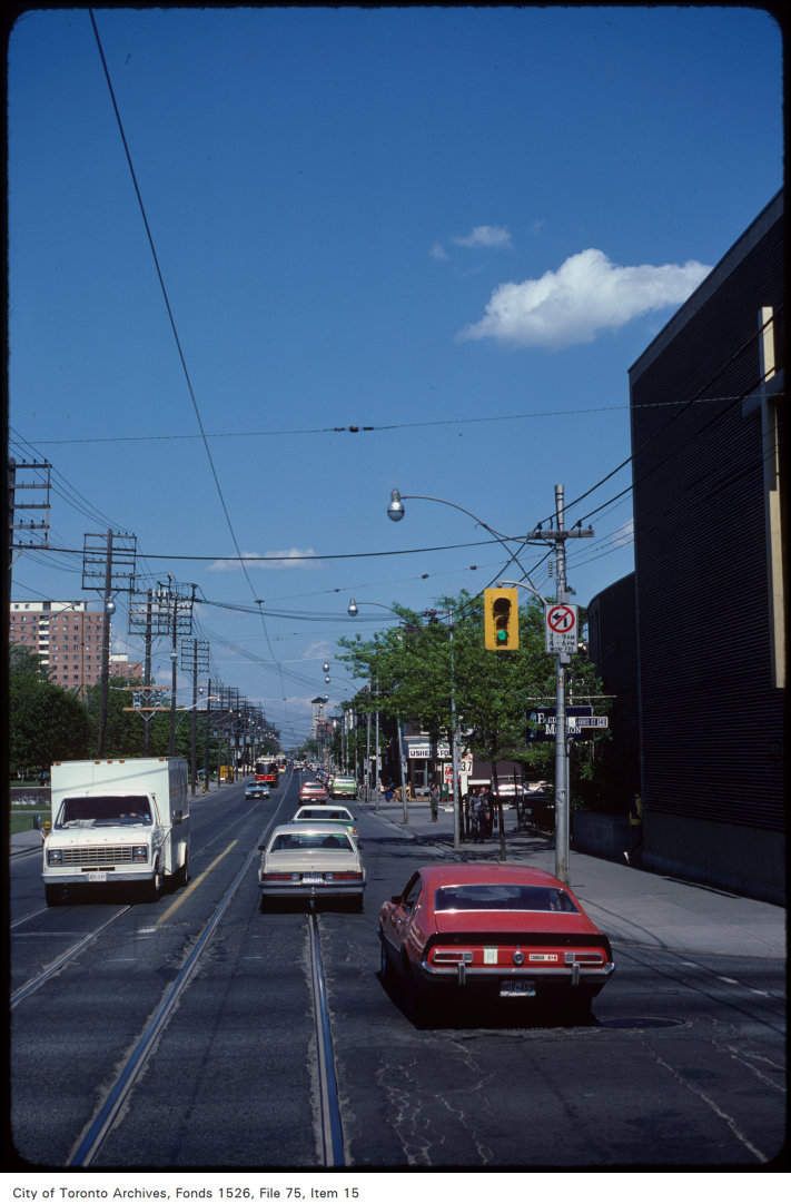 View of Queen Street East at Jarvis Street, looking east