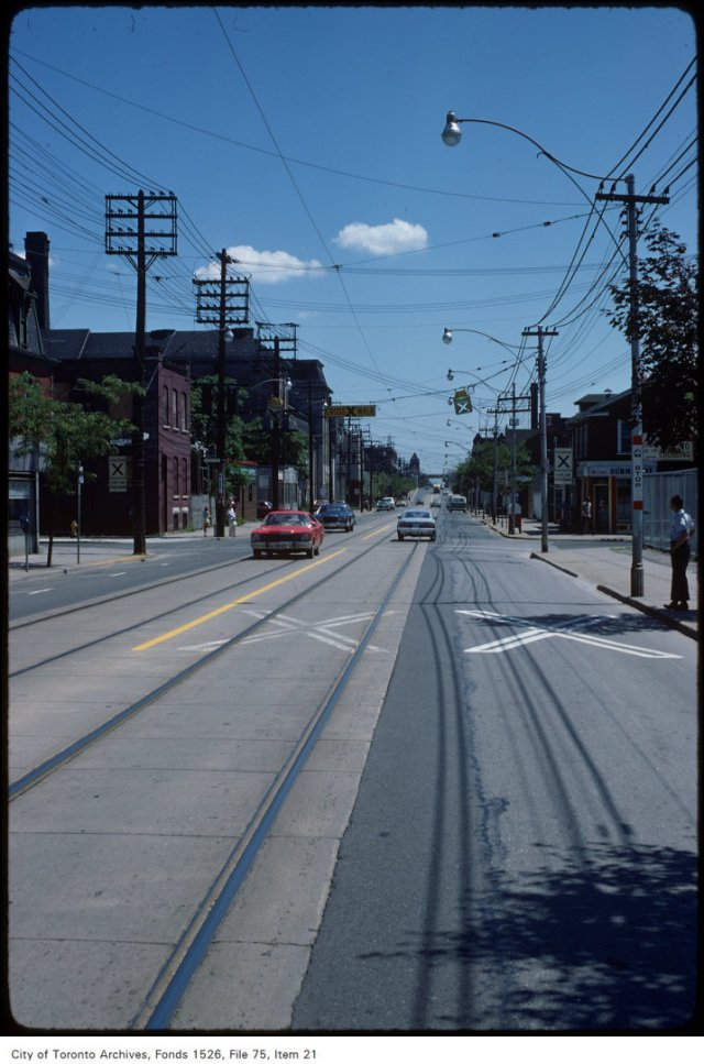 View of Queen Street East looking east to the Don from Tracy Street