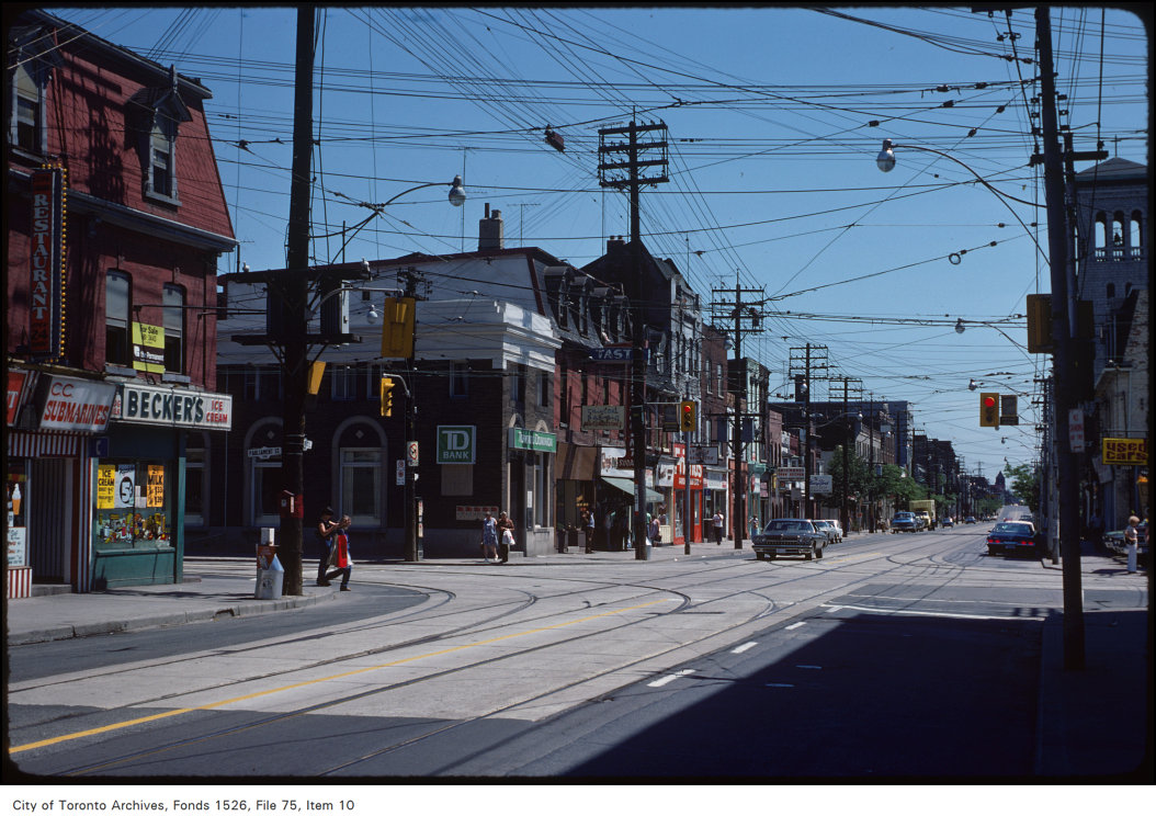 View of Queen Street East, view east at Parliament Street